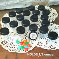 "50 Tiny 1 1/4"" Plastic JARS Black Lids Caps 1/2 OZ Travel Samples 3304 DecoJars"