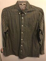Eddie Bauer Men's L/S Button Shirt Relaxed Fit Green Plaid Size Medium