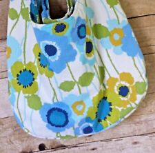 Large Lined Hobo-Style Crossbody Fabric Sling Tote Purse Bag Pockets Blue Green