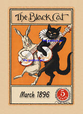 March 1896 BANJOS Hare rabbit The Black Cat Magazine cover 8x10 Vtg Art print