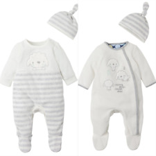 Mothercare Baby Girls Boys Unisex Velour Sleepsuit with Hat 0-6 Months NEW