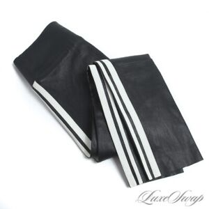 LNWOT SPRWMN Made in Los Angeles Black Leather Stretch Stripe Legging Pants XS