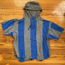 BUM Equipment Vtg 90's Men's Teal Striped Hooded Short Sleeve T-Shirt Grunge L