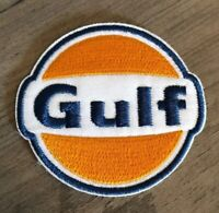 GULF Embroidered Patch Logo Gas Oil Fuel Mechanic Iron / Sew On Garage Racing