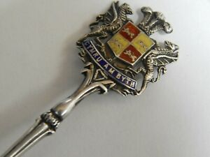 ANTIQUE  BIRMINGHAM LEVI AND SALAMAN  STERLING SILVER AND ENAMEL SPOON