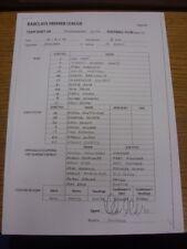 03/02/2014 Teamsheet: Manchester City v Chelsea (copy of handwritten exchange sh