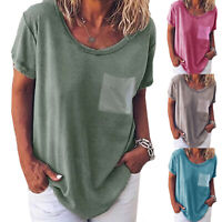 Summer Womens Loose T Shirts Short Sleeve Casual Tops Plain Blouse Tee Plus Size