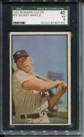 1953 Bowman Baseball #59 Mickey Mantle Card Graded SGC 40 New York Yankees '53