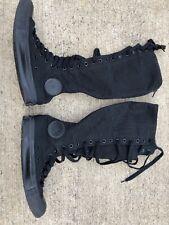 2f0609a8662eae Tall Converse Chuck Taylor Knee Hi BLACK Unisex Laces Zip Womens 8 Mens 6  GOTH