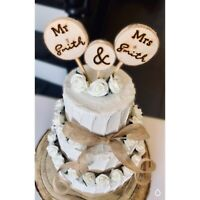 3 Personalised Bride Groom Cake Topper Wedding Cake Mr and Mrs Rustic Log Slice