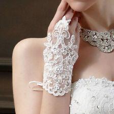 One pair white short lace fingerless bridal wedding glove - brand new. UK seller
