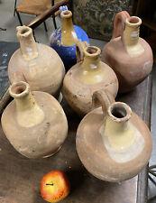 Lot de 6 Cruche Terre Cuite Vernissée Jaune Pot à Graisse Ancien Poterie
