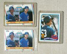 Lot of 3 Mark Grace Baseball Rookie Cards - (2) 1988 Fleer & 89 Topps (NM-MT)