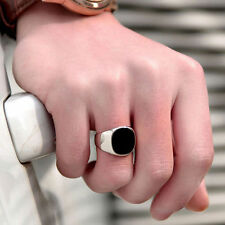 Men's Punk Finger Ring Cool Solid Polished Stainless Steel Biker Band Jewelry
