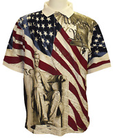 Men's Patriotic Abraham Lincoln USA Flag Polo Shirt American Golf Shirt