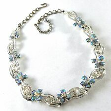 "Unsigned CORO Vintage 16"" Necklace Blue AB Rhinestone Flower Silver Tone B150"