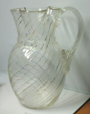 Antique Spiral Ribs Glass Pitcher Applied Reeded Handle Clover Shaped Top