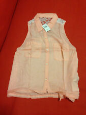 Abercrombie & Fitch Shirt Top M Orange Lace Back Sleeveless Button Front New