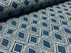 Art Deco Damask Rhombus Diamond Print Fabric Floral Curtain Cotton -55'' wide