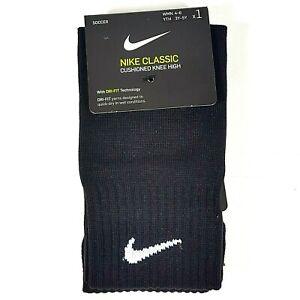 Nike Classic Soccer Socks Black Cushioned Knee High Women 4-6 Youth 3-5