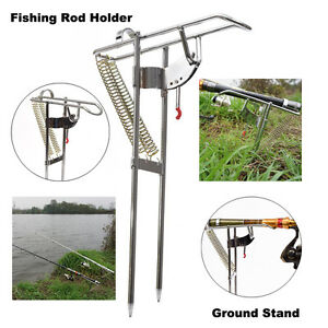Auto Double Spring Angle Pole Fish Pole Bracket Fishing Rod Holder Ground Stand
