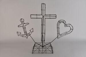 Antique Wire Memorial Sculpture Heart Cross Anchor US Navy Folk Art Rare Topiary