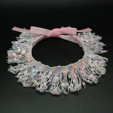 Lace Dog Necklace Collars for Chihuahua Yorkie Small Animal Pink Blue