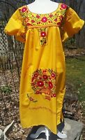 Puebla Dress Mexican Embroidered Flowers Floral Chiapas Large L Yellow J