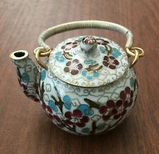 Chinese White Cloisonne Bronze Brass Copper Enamel Cherry Blossom Birds Teapot