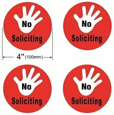 4 Pack NO SOLICITING Window Door Wall Stop Distribute Sign 4'' Dia Decal Sticker