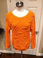 Polo Ralph Lauren Orange Cable Knit Crewneck Sweater, Size Medium