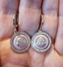 Silver Ceramic Earrings~Cubic Zirconia~BEAUTIFUL!!