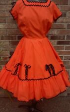 SQUARE DANCE DRESS ORANGE & BLACK BY MALCO MODES COTTON BLEND 40-28-50