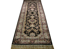 Black 2 ft 6 in x 8 ft Aubusson Rug Hand-knotted 30 x 96 in Artificial Silk