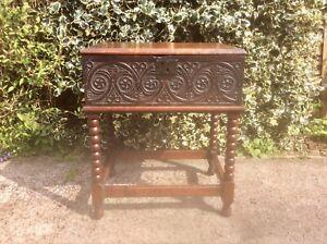 Antique 17th Century Carved Oak Bible Box Coffer Casket Deeds Box