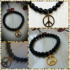 RELAX Scent Therapy Beaded Bracelet LAVENDER Gold PEACE Onyx