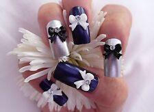 10/20pc x 3D Acrylic Nail Art Rhinestone BowTie Bows Decoration Pink White Black