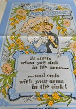 SOUVENIR VINTAGE PURE LINEN TEATOWEL BY ULSTER 'LOVE & MARRIAGE NO 2' BRAND NEW