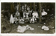 YOUNG MEN, WOMEN OUTING IN A WOOD & ORIGINAL VINTAGE REAL PHOTO POSTCARD