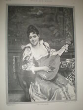 The Lute Player G Heuer and Kirmse from Tito Conti 1891 old print
