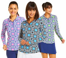 IBKUL Womens Classic Key Print Long Sleeve Polo 41646- New 2020