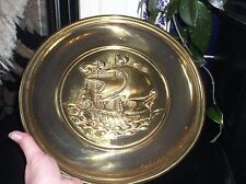 """VINTAGE SOLID BRASS DEEP RELIEF WALL PLATE SAILING GALLEON WITH OARS 12"""" ENGLAND"""