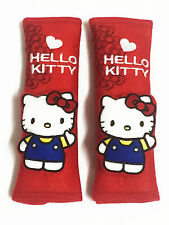 Hello Kitty Car Accessory : 2 pieces Seat Belt Covers Shoulder Pads #Red