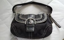 COACH SIGNATURE STUDDED WHIPSTITCH HOBO SHOULDER BAG 10484 BLACK