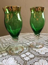 Set Of 2 Vintage Midcentury Green Glass Ornate 24ktGold Trim Wine Sherry Glasses