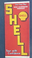 1939 New Hampshire Vermont  road  map Shell  oil gas radio log Quebec Canada