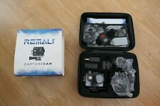 REMALI CaptureCam 4K Ultra HD Action Camera w/ Case Batteries Remote NOB
