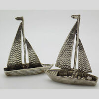 2 x Vintage Solid Silver Italian Made Boat Miniatures Hallmarked Figurines