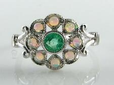 SUN MOON STAR 9CT WHITE GOLD COLOMBIAN EMERALD  OPAL RING FREE RESIZE