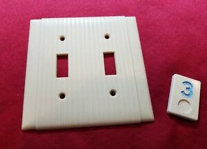 1 Ivory Vtg Ribbed Deco 2 Gang Double Switch Plate Lined Cover - BB3
